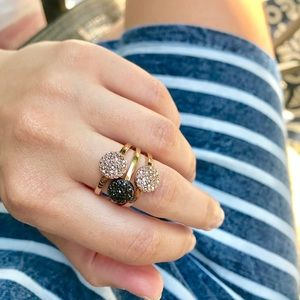 Circle Pave Stacking Ring Costume Jewelry 2 Colors